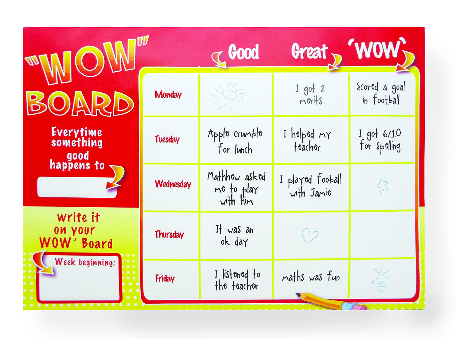 Wow Board for School -example page inside