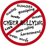 No entry sign over words cyber-bullying