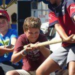 Boys playing tug of war