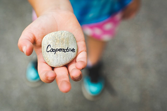 Child holding stone that says 'cooperation'