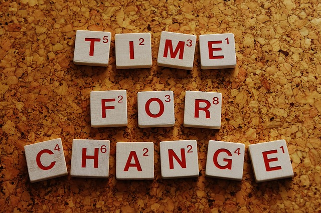 Time for Change written in Scrabble tiles