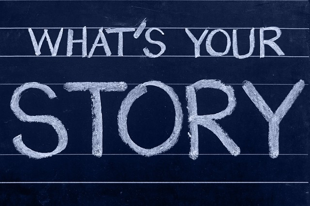 The words What's Your Story on chalkboard