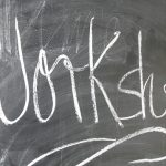 The word Workshop written in chalk on a blackboard