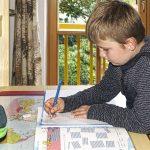 Boy sitting at desk doing homework