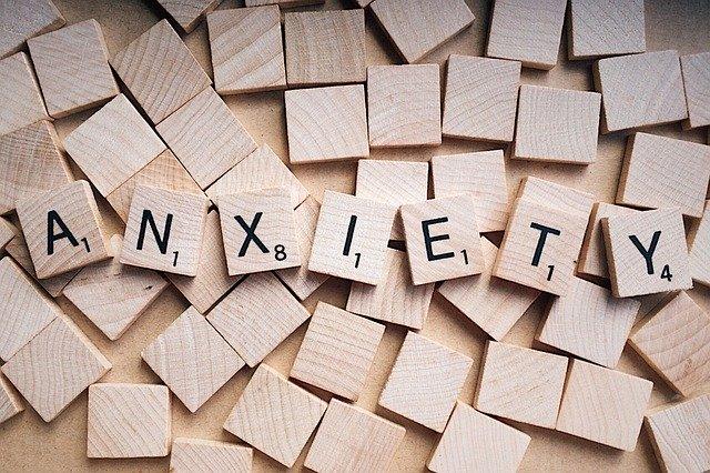 Anxiety spelt in scrabble tiles