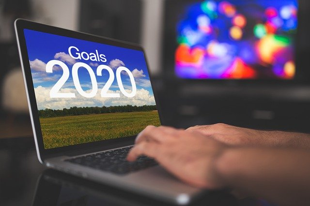 Computer screen with words Goals 2020