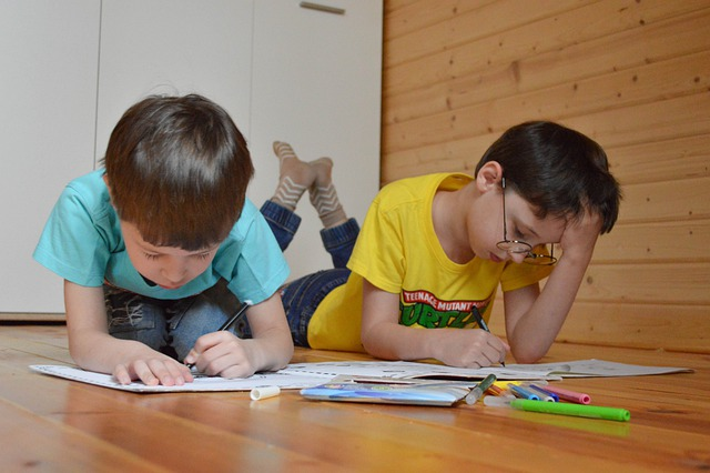 2 brothers colouring and talking