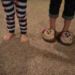 Children's feet in slippers