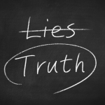Blackboard with Lies and Truth written on it